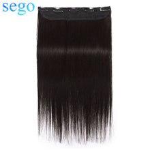 Накладные человеческие волосы SEGO, прямые человеческие волосы 8-24 дюйма, 1 шт., с 5 зажимами, вокруг головы, не Реми, 100% человеческие волосы для н...