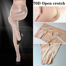 70D Women Sexy Shiny open Crotch Glossy Oil Pantyhose Tights thick good quality One Line High stretch oil Stockings