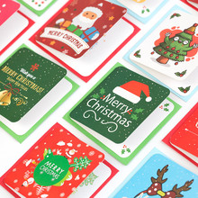 Santa Claus Mini Greeting Cards Message Card DIY Christmas Holiday Blessing Card Christmas Tree Hanging Ornaments недорого