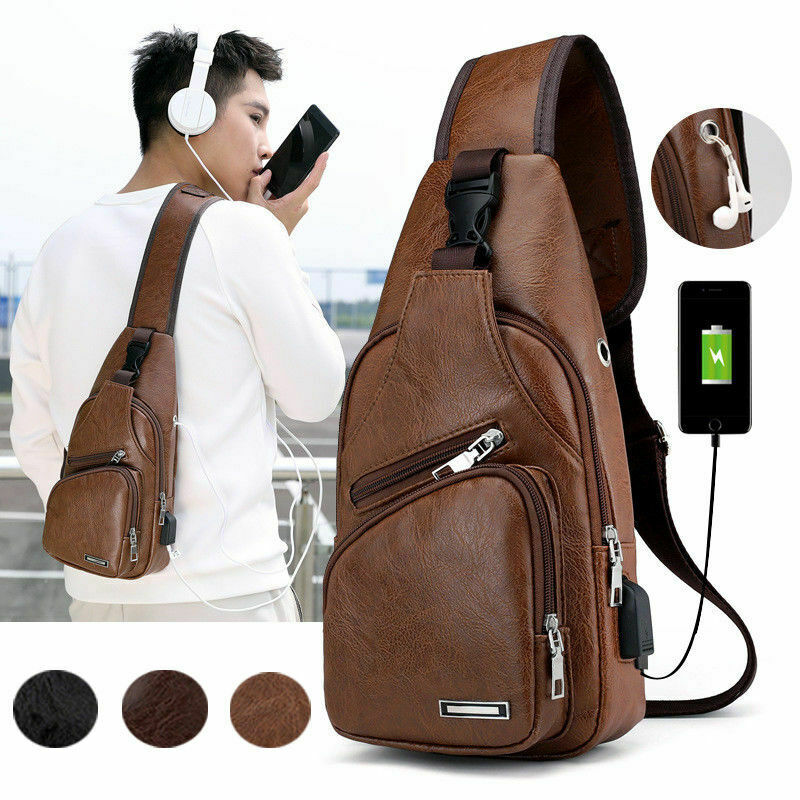 Men's Leather Sling Pack Chest Shoulder Crossbody Bag Backpack Biker Satchel USB Charging Sports Crossbody Handbag