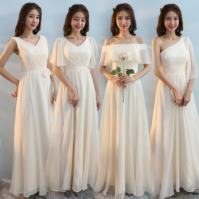 Long Bridesmaid Dresses Champagne Chiffon A-Line Wedding Guest Gowns Elegant V-Neck Sleeveless Women Vestido De Festa Longo R046