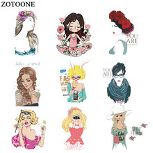 ZOTOONE Iron on Transfers Fashion Lovely Girls Patch for Clothing Applications T-shirt Diy Heat Appliques Stickers E