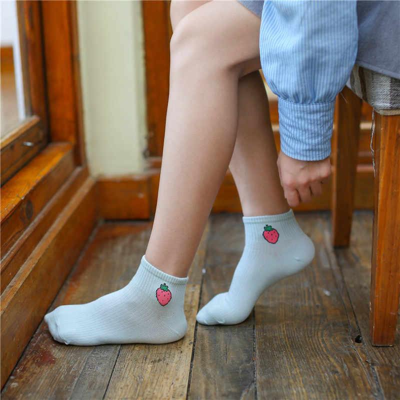 春夏新作アート新鮮なフルーツボートソックス白快適な綿の靴下ドロップシップ