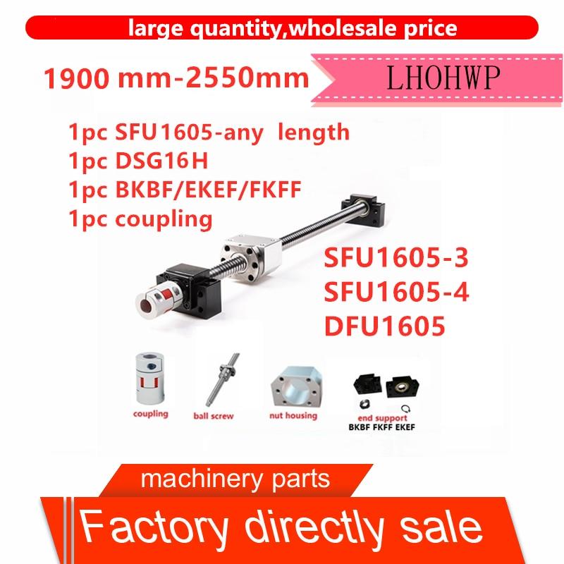 고품질 세트 SFU1605 3 SFU1605 4 허리 dfu1605 더블 너트 볼 스크류 c7  1900mm 2550mm + bkbf12 + dsg16h + xb25 * 30 커플 링-에서선형가이드부터 홈 개조 의 title=