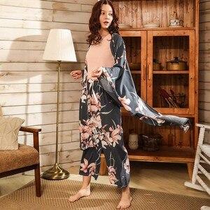 Image 3 - Ladies Floral Printed Deep Grey Elegant Sleepwear Women Wide Sleeve Loose 4Pcs Pajamas Set Soft Homewear Casual Wear For Spring