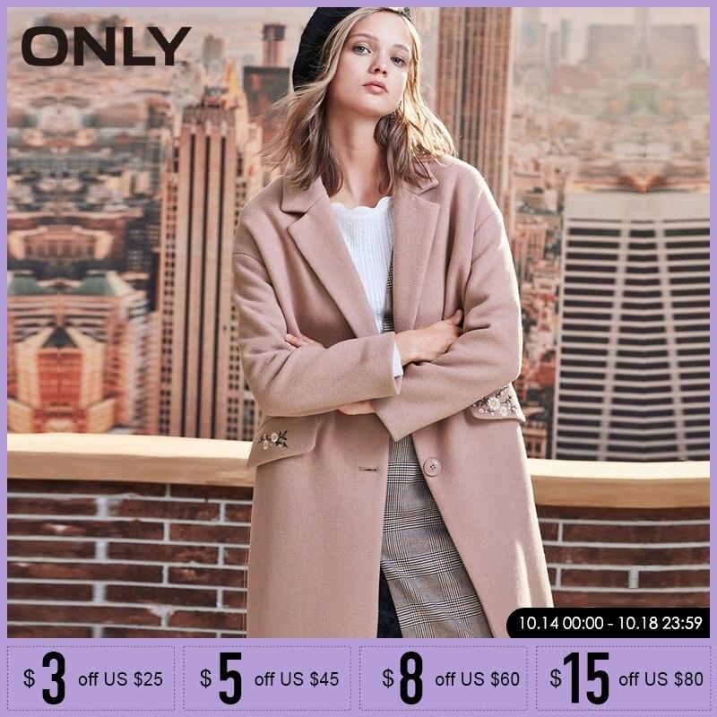 ONLY 2019 automne hiver femmes manteau de laine nouveau manteau de laine brodé femmes | 11834S539