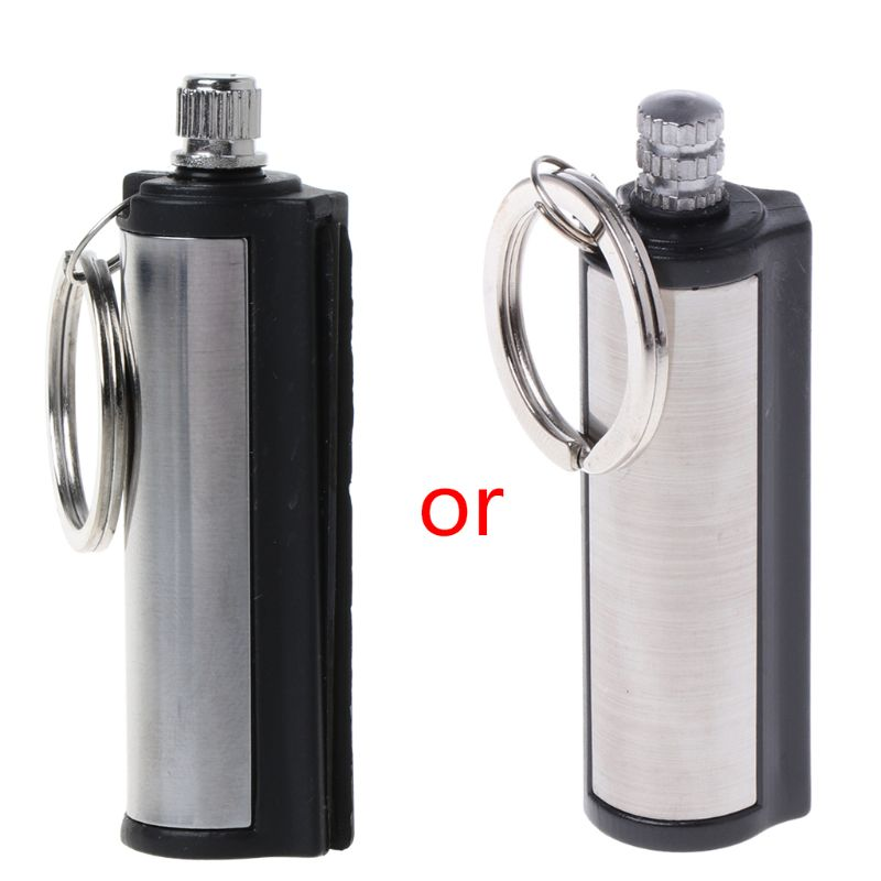 2020 New Fashion Permanent Striker Lighter Match Silver Metal Key Chain
