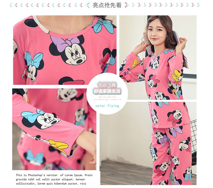 Wholesale Pajamas Sets Spring Autumn 22 Style Thin Carton Generation Women Long Sleepwear Suit Home Women Gift Female Sleepwear 36