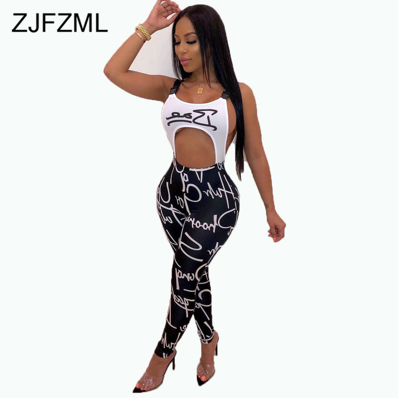 Letter Printed Backless Sexy Party Bandage Jumpsuit Women Spaghetti Strap Waist Band Cut Out Playsuit Summer Bodycon Overalls