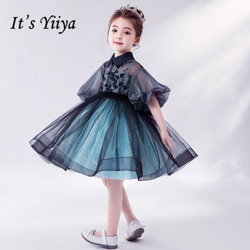 Kids Communion Dresses It's Yiiya B016 Puff Sleeve Appliques Princess Gown For Party 2020 Half Sleeve Short Flower Girl Dress