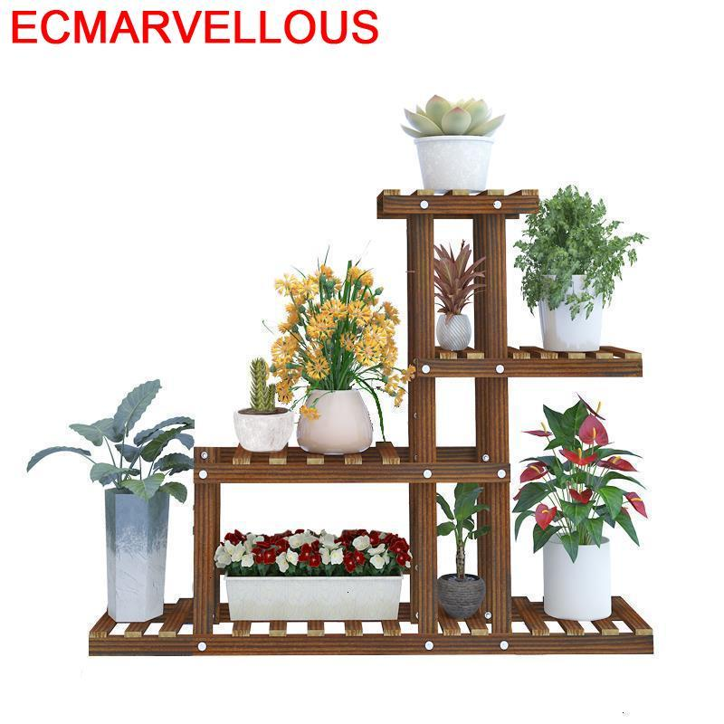 Madera Rak Bunga Garden Shelves Pot Estante Para Plantas Indoor Wood For Rack Dekoration Shelf Outdoor Flower Plant Stand