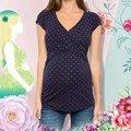 4 # Женские футболки с принтом в горошек, удобный топ с коротким рукавом для кормления грудью, футболки для беременных, топ с V-образным вырезо...
