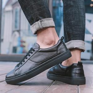 Image 5 - Мужские кожаные кроссовки REETENE, черные однотонные повседневные кроссовки на шнуровке, удобная мягкая обувь белого цвета, 2019