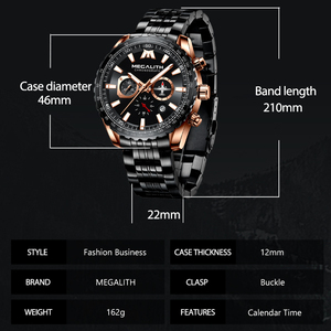 Image 4 - Relogio Masculino MEGALITH Sport Watch Men Aircraft Pointer Calendar Male Clock Full Steel Waterproof Quartz Watch With Box Pack