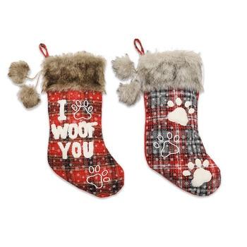 2Pcs/Bag/Christmas Dog Paw Socks/Pet Socks/Fur Collar Lattice English Socks/Christmas Tree Pendants/Christmas Decorations недорого