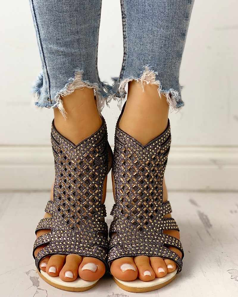 Donna Roma Sandali Delle Donne Cunei Scava Fuori delle Donne Peep Toe Bling di Cristallo Femminile Zip Scarpe Delle Signore di Modo Calzature Plus formato