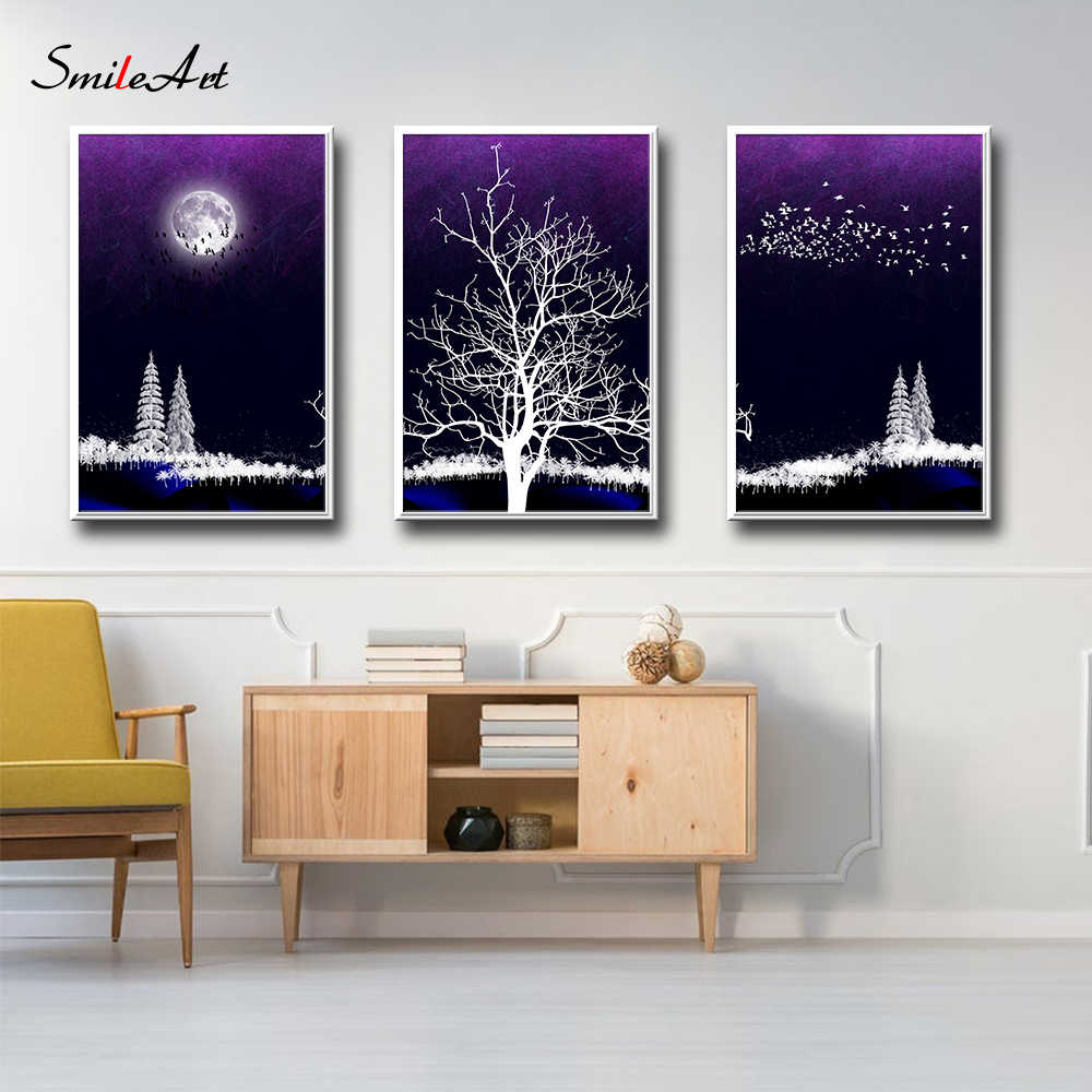 Creative Tree In The Moon Canvas Painting Wall Art For Living Room Decor Pictures On The Wall Poster Painting Home Decor
