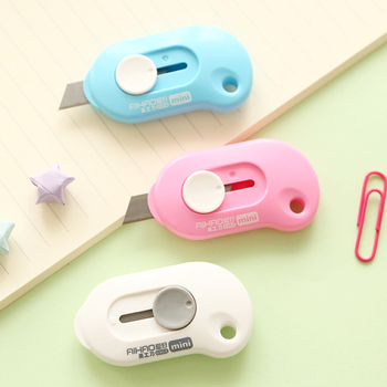 1PCS Kawaii Solid Color Mini Utility Knife Portable Cutter Cutting Paper Letter Opener Office School Stationery Art Tools Supply