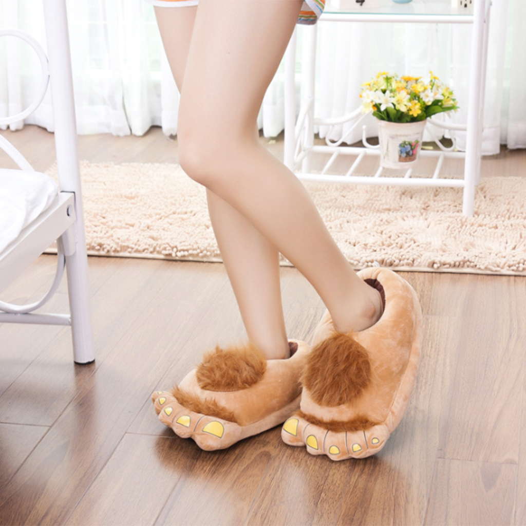Funny Furry Hobbit Feet Indoor Shoes Slipper Cute Cartoon Winter Slipper Warm Animal Home Slipper for Men Women  EU size 35-44