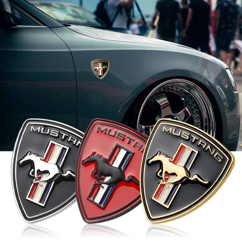 New 3D Metal Chrome Car Styling Running Horse Emblem Badge For Ford Mustang Shelby GT fender Car decoration Sticker accessories