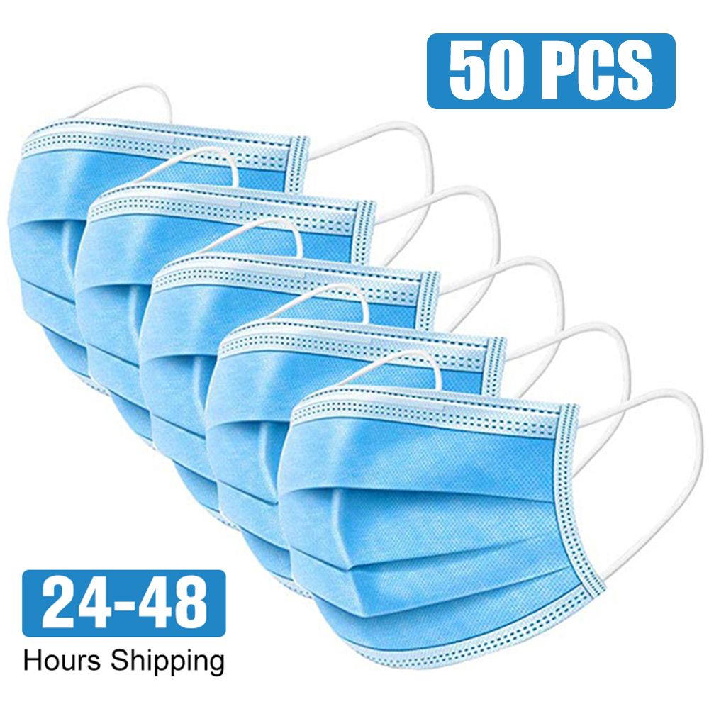 50pcs Face Mouth Protective Mask Disposable Protect 3 Layers Filter Dustproof Earloop Non Woven Mouth Masks 48 Hours Shipping