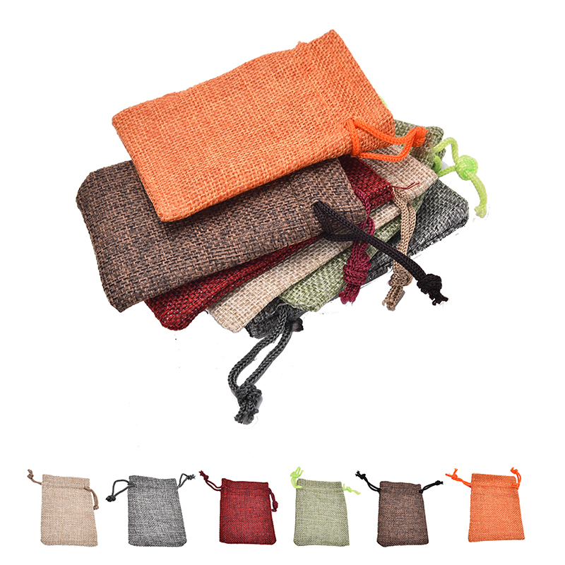 10 Linen Jute Hessian Sack Jewelry Pouch Drawstring Bags Wedding Favour 7*9cm