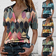 Summer Casual Loose T Shirt Ladies Patchwork Pullover Print Short Sleeved Tops Fashion Plus Size Clothing