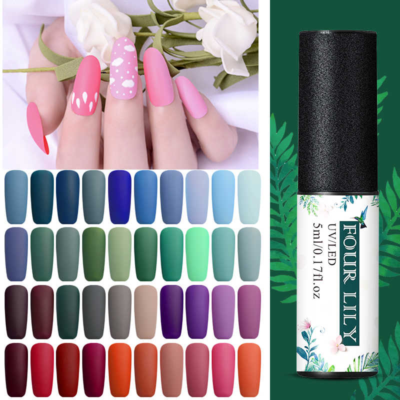 Vier Lelie Matte Top Jas Ontwerp Gel Lak Losweken Uv Nail Gel Polish Tips 60 Kleur Uv Gel Nail art Vernis Manicure Gel