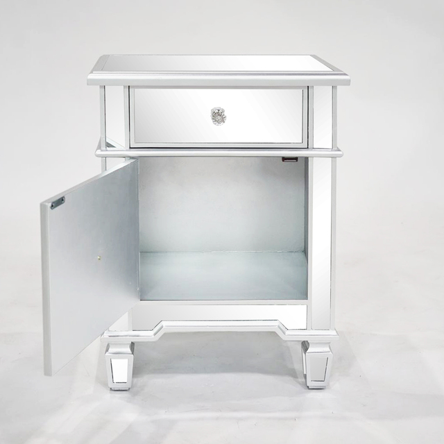 Mirror Surface Nightstand  w/1 Drawer  & 1 Door Side  4