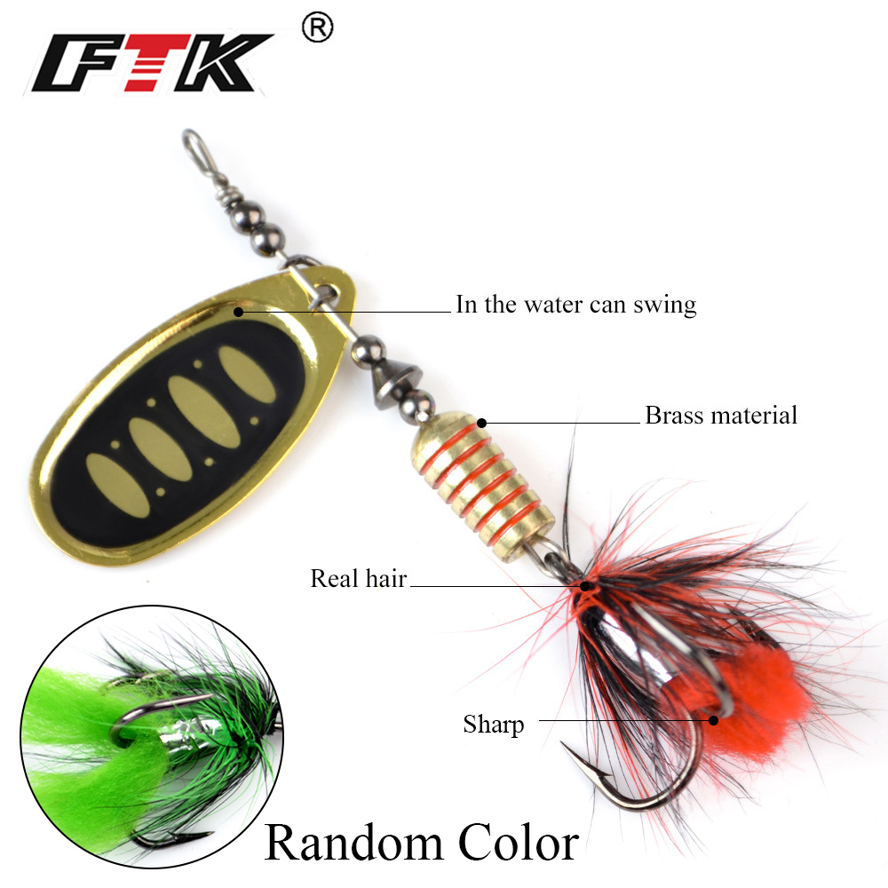 FTK 1pc Spinner Bait 7.5g 12g 17.5g Hard Spoon Bass Lures Metal Fishing Lure With Feather Treble Hooks For Pike Fishing 3