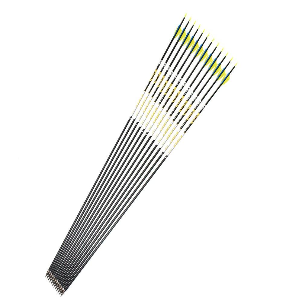 "12pcs 30.5"" Shooting Carbon Arrows 800 900 Spine ID4.2mm V1 Arrow Shafts 1.75"" Arrow Vane For Recurve Bow Archery"
