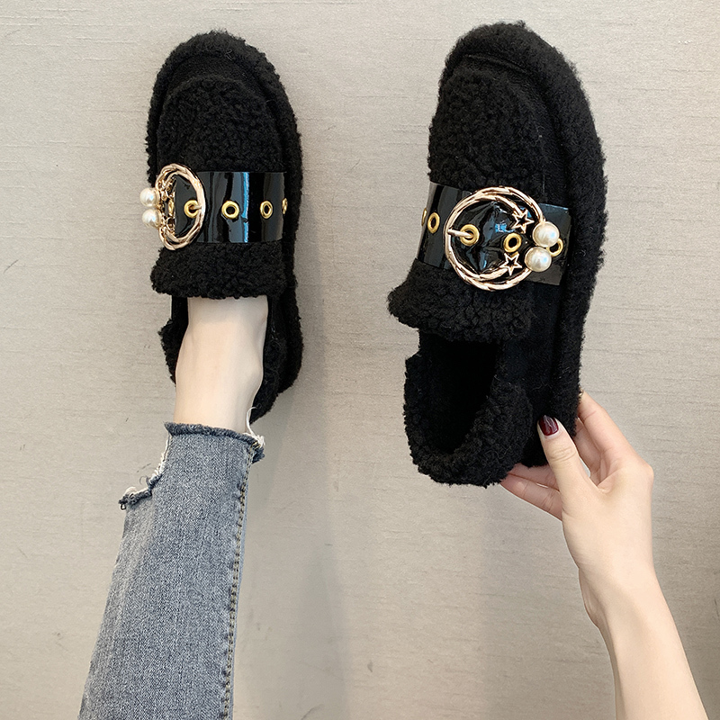 Women's Winter Flat Shoes Korean Suede Short Plush Lining Ladies Casual Sneakers Rubber Non-slip Bottom Winter Warm Womenshoes 37