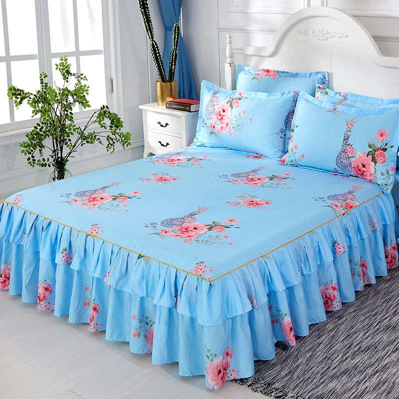 Floral Bedspread Bed Skirt Non-slip Fitted Sheet Cover Graceful 3pcs Double Lace  Home Textile Cover + Pillowcase Colcha De Cama