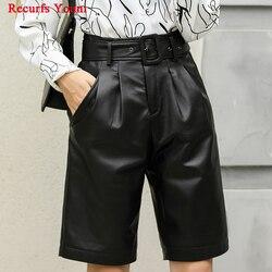Frau Echtem Leder Midi lange Schwarze Hose weibliche 2020 Hohe Taille Gürtel Bermuda Shorts Mujer Beiläufige Breite Bein Punk Hotpants
