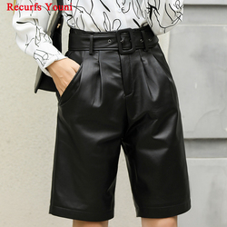 Woman Genuine Leather Midi long Black Trousers female 2020 High Waisted Belt Bermuda Shorts Mujer Casual Wide Leg Punk Hotpants