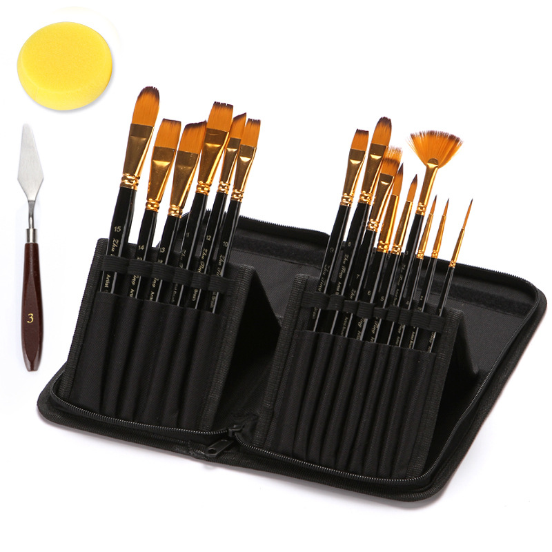 15 Pcs/set Professional Oil Paint Brush Set With Canvas Bag Watercolor Acrylic Painting Brush Art Craft Long Wood Handle