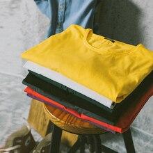 Simwood 2020 primavera inverno nova manga longa sólido t camisa masculina raw rolo hem camiseta textura qualidade 100% algodão topos si980585