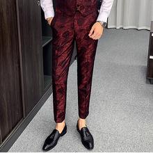 Dorywczo biznesowe spodnie od garnituru mężczyzn 2020 żakardowe spodnie męskie piosenkarka osobowość pokaz sceniczny spodnie spodnie wizytowe Slim Fit męskie Vintage tanie tanio NSTOPOS Ołówek spodnie Mieszkanie Poliester COTTON Kieszenie skinny 28 - 38 L2935 Na co dzień Midweight Suknem Pełnej długości