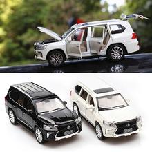 1:24 LX570 литая модель автомобиля, литая под давлением металлическая модель автомобиля, игрушечный светильник со звуком для автомобиля