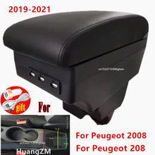 Para peugeot 2008 braço para peugeot 208 caixa de braço do carro 2019 2020 2021 peças retrofit caixa armazenamento interior acessórios usb led