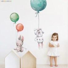Renkli balon tavşan yatak odası duvar çıkartmaları çocuk odası dekorasyon için gri tavşan duvar çıkartmaları çocuklar için kreş duvar çıkartması