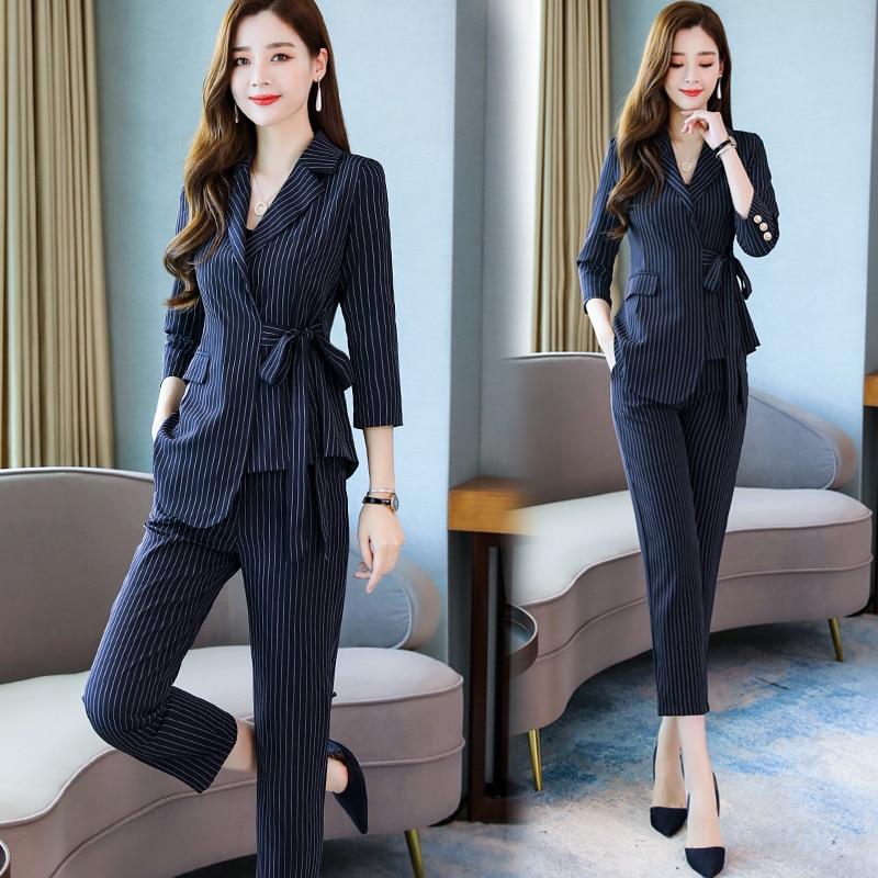 Early Autumn 2019 European Goods Fashion Stripes Small Suit WOMEN'S Suit Early Autumn Ozhouzhan Work Wear Two-Piece Set