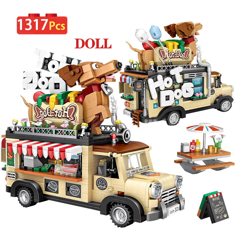 1317pcs City Hot Dog Cart Car Figurine Model Building Blocks Dining Car Vehicle Education Mini Bricks Toys For Children Gifts