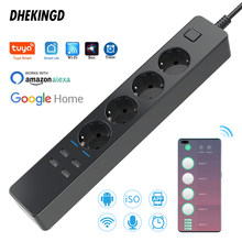 Wifi Smart Power Strip 4 EU 4 USB Outlets Plug Charging Port Timing Bluetooth control with Alexa Google Home Assistant
