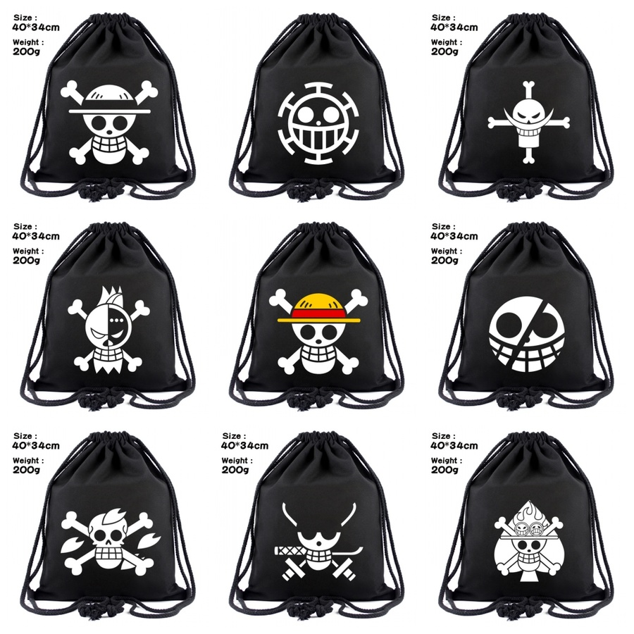 Anime One Piece Canvas Drawstring Bags Luffy Law Chopper Backpack Cosmetic Stringbag Boys Girls Casual Beach Bag Shoes Pouch