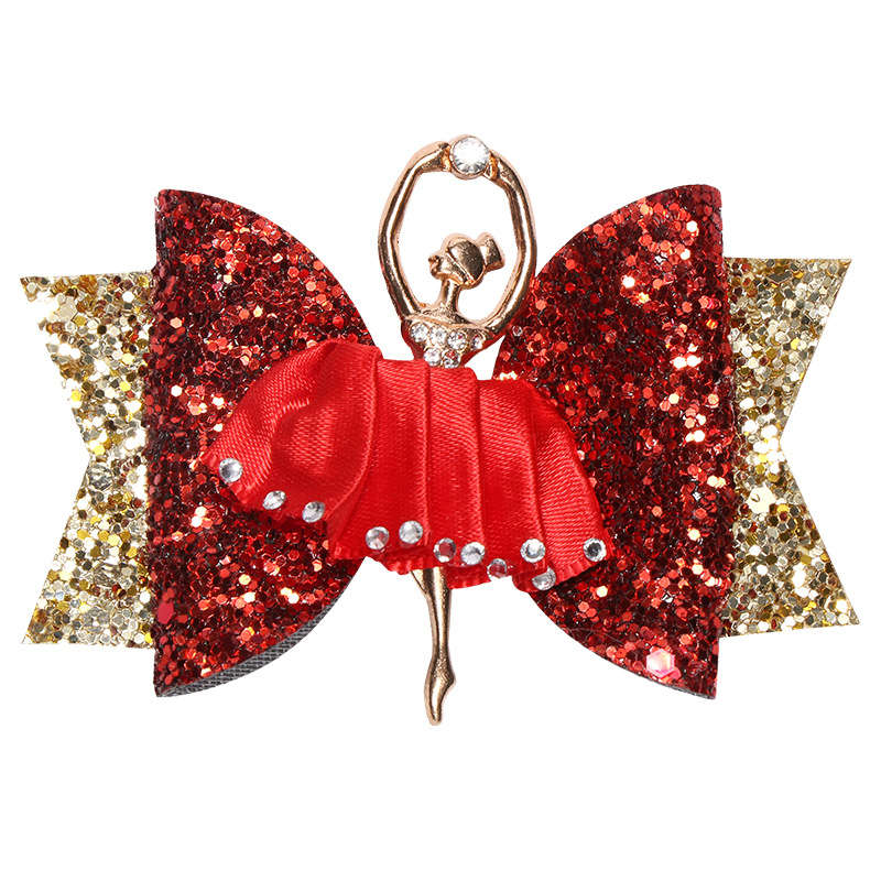 Image 4 - 10pcs/lot Adorable Ballet Girl Glitter Hair Bows for Kids Sequins Hair Clips Sparkly Party Hairgrips Fashion Hair AccessoriesHair Accessories   -