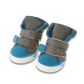4 unids/set de botas de invierno para perros a la moda, calzado deportivo para perros Chihuahua, zapatillas de lona vaquera, Zapatos antideslizantes para mascotas para perros pequeños 10E