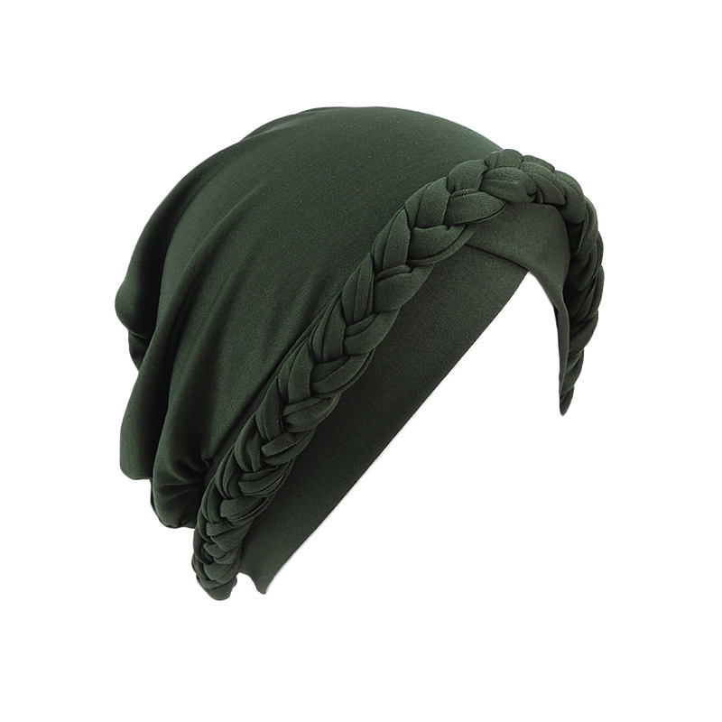 Hf30e18494d8142e484c8b120a99545f2i - NEW arrival Retro Women Braid India caps Muslim Cancer Chemo full cover-up  Beanie Hair Loss Turban femme Wrap