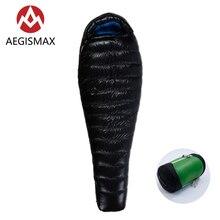 AEGISMAX G5 التخييم طويلة في الهواء الطلق خفيفة للغاية المومياء الشتاء كيس النوم الطقس البارد الأبيض أوزة أسفل كيس النوم