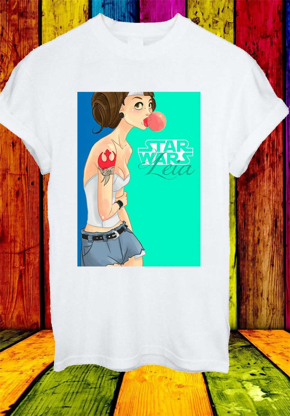 Star Wars Princess Leia Budak Pemberontak Hipster Karet Unisex T Shirt Pria Wanita Kaos Musim Panas Pakaian Kasual